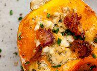 Roasted Maple Butternut Squash with Gorgonzola and Feta #BIthanksgiving dinner on #Bingoisland