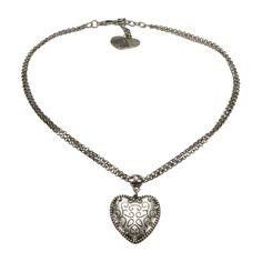 Alpenflüstern Trachten-Halskette Herz klein (altsilber-farben)
