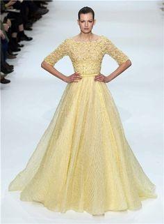 Vestido amarillo de la colección Alta Costura de primavera - verano 2012 de Elie Saab
