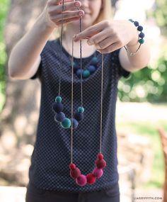DIY Felt Ball Necklace - Lia Griffith