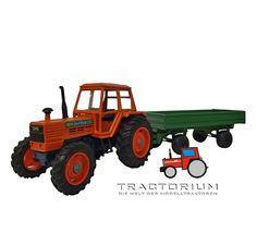 Yaxon Same Buffalo 130 Traktor mit Kippanhänger 1/43