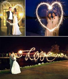 """How To Make Sparkler Messages * Use a tripod * Set camera mode to M (manual) * Set f/stop to f5.6 * Set shutter speed to 4"""" (4 seconds) or slower (make the shutter speed faster for more defined words) * Set white balance to Tungsten * Make sure everyone writes their letters backwards!"""