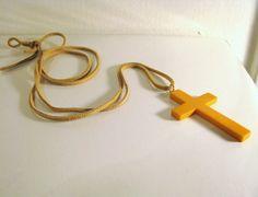 Large Vintage Bakelite Cross on Suede by noellemillerjewelry