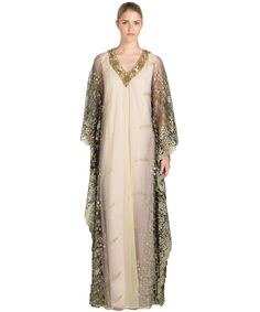 BADGLEY MISCHKA Caviar Bead Embellished Caftan Gown'. #badgleymischka #cloth #evening