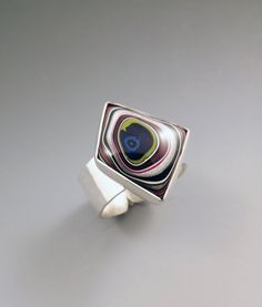 Fordite- Detroit Agate- Hammered Sterling Silver Ring-One of a Kind
