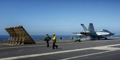 "This is the Alert 5 launching from the number three catapult aboard the USS John C. Stennis (CVN 74).  This Boeing F/A-18F Super Hornet, from Strike Fighter Squadron 41 (VFA-41) ""Black Aces,"" sat ready on the catapult for over an hour and they had to refuel it before it launched.  ottosenphotography.com 