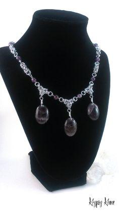 Amethyst Byzantine Chainmaille Necklace por GypsyGrove en Etsy