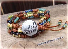 Wrap Bracelet/ Seed Bead Bracelet/ Boho Beaded Wrap Bracelet/ Seed Bead Leather Wrap Bracelet.  #4