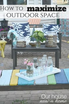 How to maximize outdoor space. A simple way to use big and large patios to entertain and enjoy all summer long. Easy ideas to set-up furniture and have a casual and comfortable feel. A mix of coastal and rustic decor. #worldmarkettribe #ad