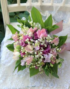 418b25aa5cc609 Sweet pea and Lily of the Valley bouquet- for Sara Sweet Pea Wedding Bouquet
