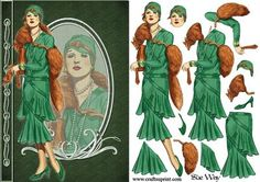Deco Lady in Green and Furs Fashion Reflections Decoupage