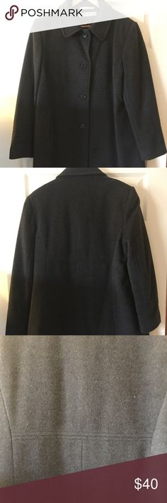 Woman's Warm Wool 3/4 length Coat Stylish dark gray wool car coat. Umpire waist stitching for a flattering look. 80% wool. In excellent condition from a smoke free home Larry Levine Jackets & Coats