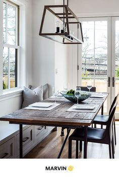 Thoughtful interior design and clean, bright, open spaces work to elevate the farmhouse aesthetic of this home with effortless modern design. Casement Windows, Windows And Doors, Farmhouse Design, Modern Farmhouse, Marvin Doors, Double Hung Windows, Door Design Interior, Breakfast Nooks, Open Spaces