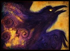 Fire in the Belly - POSTER Crow Raven Celtic Goddess Art Print by Stephanie Lostimolo