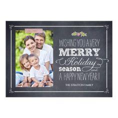 Stylishly Chalked Holiday Photo Cards Card