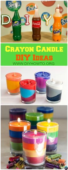 Get best out of the leftover crayons to make block or scent layered crayon #candle, or creative soda candle. #crafts  via @diyhowto