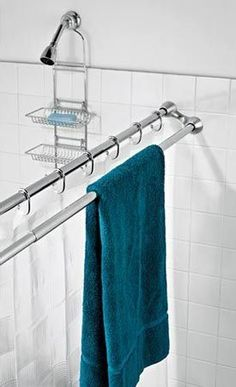 duo shower rod – l like this idea!! Awesome use of space in my tiny bathroom!