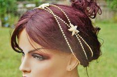 Starfish Gold Headpiece, Rhinestones Chain, Beach Wedding, Choose Tone, Bohemian , Halo , Gold Starfish Headband , Beach Wedding Piece