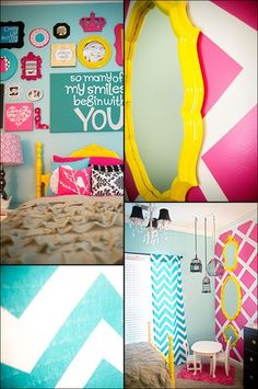 I like how they did the pink wall....would do it in a totally different color though...love the chevron blue curtains too! :)