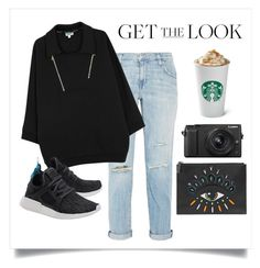 """""""Untitled #481"""" by chicville ❤ liked on Polyvore featuring Current/Elliott, Kenzo, Panasonic, adidas Originals, kenzo, starbucks, adidas, ripped and adidasNMD"""