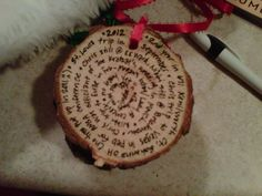 "I posted this on FB and everyone loved it....thought it was a more common practice, but I've been doing this since our first married Christmas tree!  Cut off a thin ""slice"" off your trunk, drill a hole in it, write down any memorable moments from the year (make sure you write down what year it's from!) and use as an ornament for years to come!"