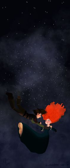 'Cause you're a sky full of stars..  A romantic scene in Fall of Autumn where Hiccup and Merida are flying on Toothless in the night and he does his daring fall and drags her along. Thus the two fall together….and in love….