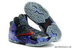 2014 Mens Basketball Shoes Glow in the Dark Nike Air Max LeBron James 11 P.S Elite South Beach Galaxy