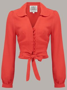 """""""Clarice"""" Blouse in Red by The Seamstress Of Bloomsbury, Authentic Vintage Inspired Style 1940s Fashion, Vintage Fashion, Emo Fashion, 40s Mode, Vintage Mode, Vintage Style, Bloomsbury, Blouse Designs, Fashion Dresses"""