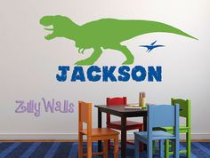 Boys Name Decal Personalized Dinosaur Wall Decal Tyrannosaurus - Custom vinyl wall decals dinosaur