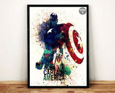 The Avengers Captain America DIGITALE Poster Aquarell A3