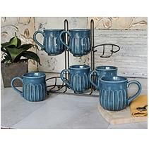 Fluted Mug Set with Stand- Blue