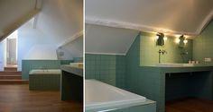 salle de bain entièrement rénovée, carrelage 10*10 vert, sur-mesure