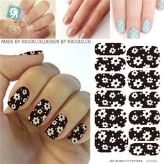 black and white flower design Water Transfer Nails Art Sticker decals girl and women manicure tools Nail Wraps Decals KH002A #Affiliate