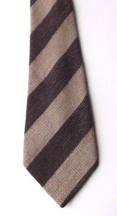 RETRO 100% WOOL NECK TIE by BHS Brown and Beige Striped Soft Weave FREE P&P #BHS #NeckTie
