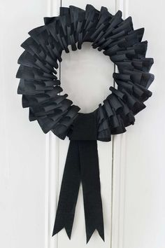 black paper wreath