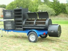 "Custom Built 30"" Double Door w/ Vertical Smoke Chamber on a Thunder Blue Trailer. 580-336-2400 #HorizonSmokers #BBQ #Cookoffs"