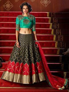 Latest Red and Black Color Jacquard Partywear Lehenga Choli.