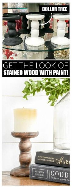 An easy tutorial for getting the look of stained wood using paint. See how I used the simple technique to give Dollar Tree pedestal candle holders a more expensive look! store crafts dollar tree Dollar Store DIY: How to Make Paint Look Like Stained Wood Dollar Tree Candles, Dollar Tree Decor, Dollar Tree Crafts, Dollar Tree Candle Holders, Dollar Tree Centerpieces, Mason Jar Crafts, Mason Jar Diy, How To Make Paint, Dollar Stores