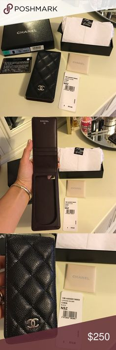 Chanel O case cellphone Black Caviar with Silver In Like New condition! (Used only 4 times!) Comes with everything except receipt.  Black Caviar with Silver hardware! Fit my IPhone 4s & Iphone 5. Will NOT fit the new IPhone 7.  I thought about converting it into a note pad, but decided to just let someone else enjoy it as I have too many note pads as it is.  As with all my items I sell only Authentic always! Retailed for $575 Plus tax & it is Like NEW! Cannot beat the price! Thanks CHANEL…
