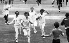 A joyful English team on July 21 1981, after beating Australia at Headingley.