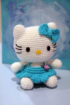 """my very first """"Hello Kitty"""" amigurumi! came out pretty good :-) She now has her new forever home :-)"""