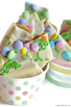 Easy Spring Candy Bark in #PickYourPlum treat cups!