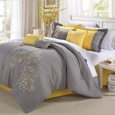 Chic Home Floral 8-piece Bed Set, Yellow