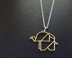 Elephant Necklace - Geometric Jewellery, Origami Necklace, Gold Elephant…