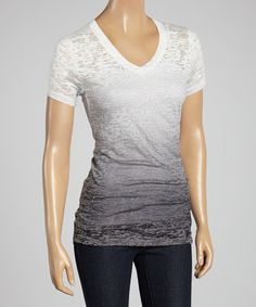 Look at this #zulilyfind! White & Charcoal Ombré Burnout V-Neck Tee by Sweet Girl #zulilyfinds