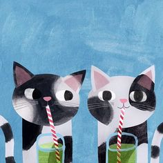 regram @angierozelaar I started this pic yesterday for Opposites Day but I didn't get time to finish it and as it's Green Juice Day today I've given these kitties some unlikely healthy smoothies! #opposites #greenjuice #cats #kitties #catillustration #illustration #catart #catsofinstagram #cutecats #caturdayeveryday #oppositesday #catpainting #kalesmoothie #catitude #greenjuiceday #funnycats #healthyjuice #animalart #catpainting #twins #smoothie #angierozelaar