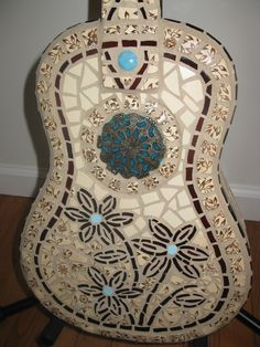 mosaic guitar. $625.00, via Etsy.