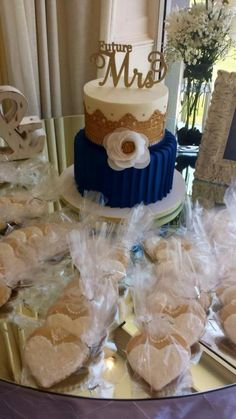 Navy & Gold Bridal Shower Cake by Sweets By Monica