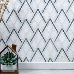 MosaicTileOutlet Chevron Random Sized Marble Mosaic Tile in Gray/Blue Ceramic Mosaic Tile, Ceramic Subway Tile, Stone Mosaic Tile, Marble Mosaic, Mosaic Wall, Mosaic Glass, Blue Mosaic Tile, Mosaic Bathroom, Cement Tiles