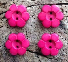 Crimson Flower Buttons